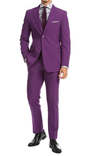 Men's Black Slim Fit 2 Piece Notch Lapel Suit Set with Blazer Jacket & Dress Pants - (42 Regular)