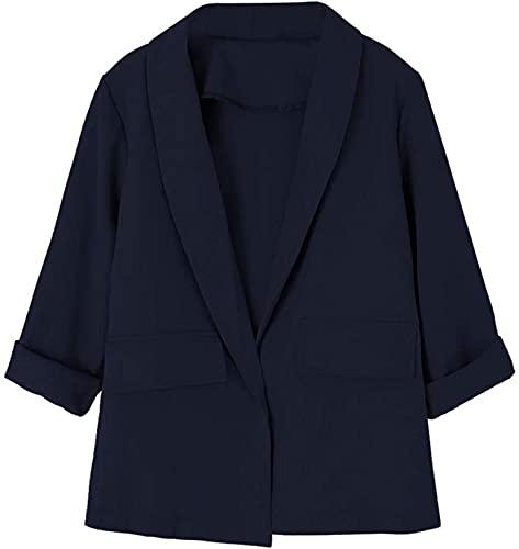 HONGJ Chaqueta informal de manga larga fruncida para mujer con ajuste frontal abierto, azul marino, 48