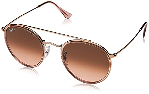 Ray-Ban 0RB3647N, Gafas de Sol Unisex Adulto, Rosa (Bronze Copper/Brown Gradient), 51