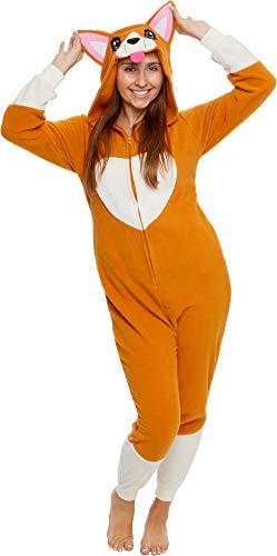 Silver Lilly Slim Fit Animal Pajamas - Adult One Piece Cosplay Corgi Costume (Large)