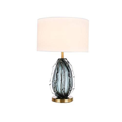 Moderna Lámpara De Mesa Contemporánea Cristal Claro Tela Tambor Tono Decoración Para La Sala De Estar Casa Bedside Nightstand Home Office Familia-Blanco 38x67cm