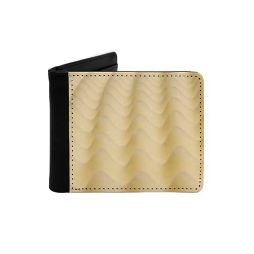 Cartera delgada de cuero para hombre,l'immagine mostra la trama di un materasso giallo,Cartera minimalista con bolsillo frontal plegable
