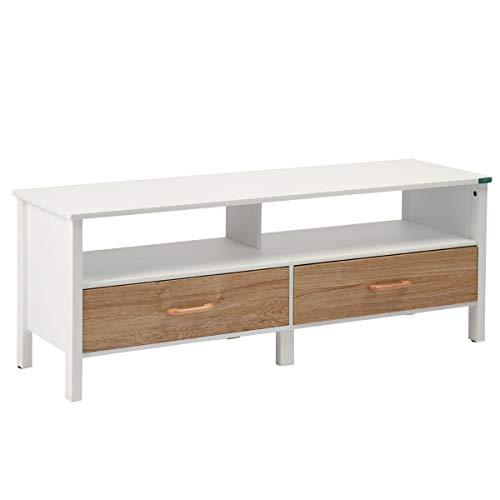Sep Home TV-houder en TV-meubel, 2 laden, 2 Scandinavische etages, wit en beuken - 120 cm