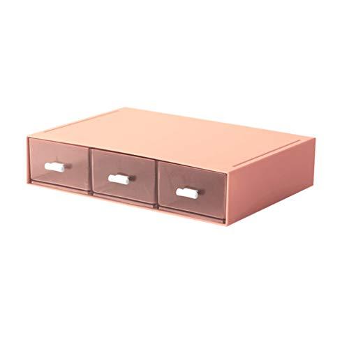 NUOBESTY Organisateur de Bureau Système de Tiroir Boîte de Rangement de Bureau Étui de Rangement de Maquillage Cosmétique pour Table de Magasin à Domicile (Rose)