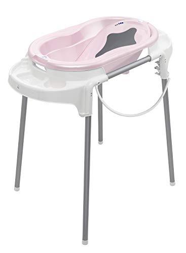 Rotho Babydesign TOP Badestation, Mit Baby Badewanne, Wannenständer, Wanneneinsatz und Ablaufschlauch, 0-12 Monate, Rosa, 21042 0248 01