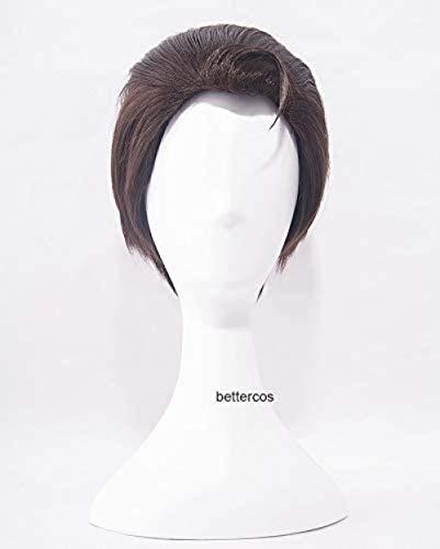 Detroit Become Human Connor Cosplay pelucas cortas marrn oscuro resistente al calor peluca de pelo sinttico + gorro de peluca