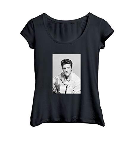 Elvis Presley King Guitar Retro_MA0045 T-Shirt Shirt Damen Tshirt T Shirt Gift for Her Funny Novelty Tee Shirts, M Black Women's