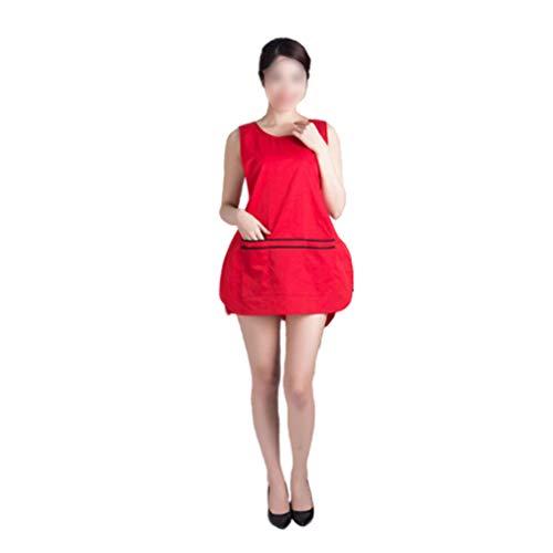 HEALLILY Tablier de Travail de Coiffeur en Soie avec Poches à Outils Barbiers Vêtements Uniformes Tablier de Protection Accessoires de Coiffeur Rouge 76X56cm