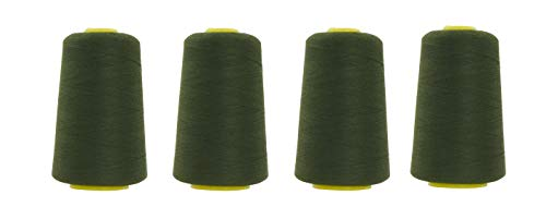 Mandala Crafts All Purpose Sewing Thread from Polyester for Serger, Overlock, Quilting, Sewing Machine (4 Cones 6000 Yards Each, Olive Green)