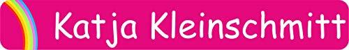 INDIGOS UG® Aufkleber Namensaufkleber Stifteaufkleber - 49x7 mm - personalisiert - 067 - Rogenbogen - 88 Stück für Kinder Schule und Kindergarten - Stifte Federmappe Lineale - individueller Aufdruck