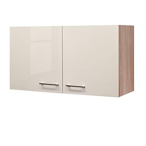 Flex-Well Hängeschrank NEPAL - Küchenschrank - 2-türig - Breite 100 cm - Creme glänzend/Eiche Sonoma