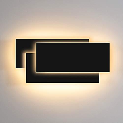 LEDMO Appliques Murales Interieur LED 12W Moderne LED Applique Murale Noir 3000K Blanc Chaud pour Chambre Couloir Salon Salle Bureau