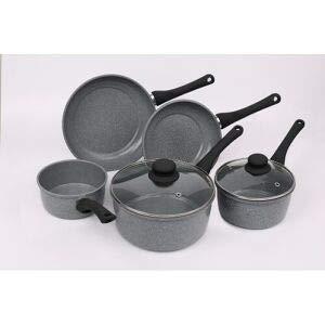 Juego de utensilios de cocina antiadherentes de cerámica de mármol fácil de limpiar, cacerola y sartén