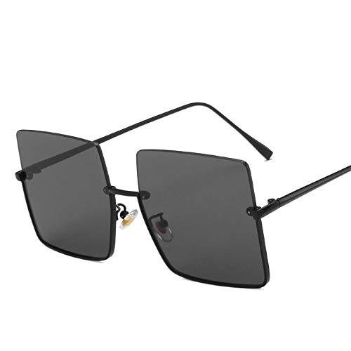 TSP Gafas de sol de metal semimontura para mujer, estilo retro, de gran tamaño, cuadradas, para hombre, con marco de metal, para uso urbano UV (lentes de color: negro gris)