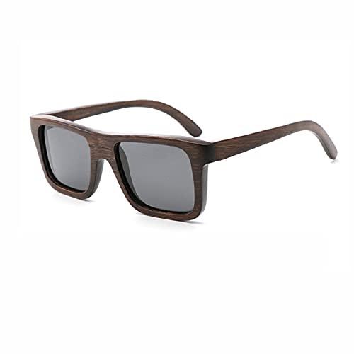 Gafas de sol hechas a mano de bambú y madera, marco marrón de bambú ranurado, marco plano pequeño, productos de madera