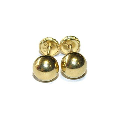 Pendientes para bebé de oro amarillo 18ktes bola 6mm. Never say never