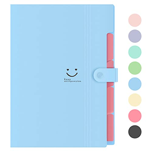 Lanivas Expanding File Folder 5 Pockets Plastic Accordion Document Organizer A4 Letter Size for School Office Travel - Free Labels (Blue)