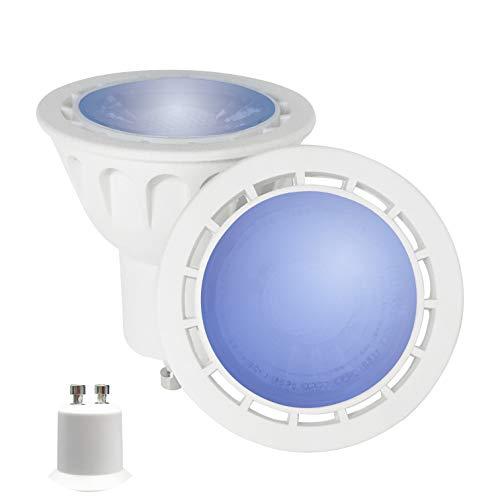 YAYZA! 4er-Pack Premium MR16 GU10 6W Netz AC LED-Punktstrahler COB Glühbirne 60 Grad breiter Lichtstrah Lampe Farbe Blau