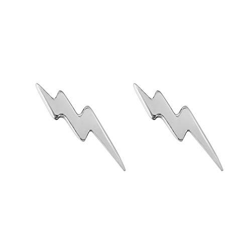 Flechazo 1 Pair Lightning Bolt Earrings Silver/ Gold Small Stud Earrings Sterling Silver 925 for Women Men Ear Studs Ear Bars Birthday Gift