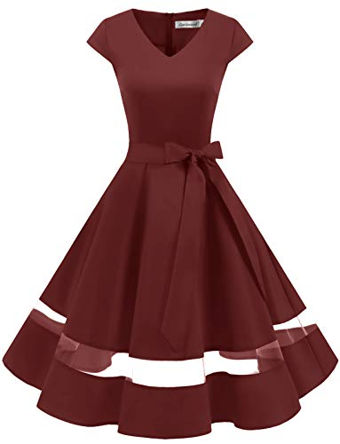 Gardenwed 1950er Vintage Retro Rockabilly Kleider Petticoat Faltenrock Cocktail Festliche Kleider Cap Sleeves Abendkleid Hochzeitkleid Burgundy XS