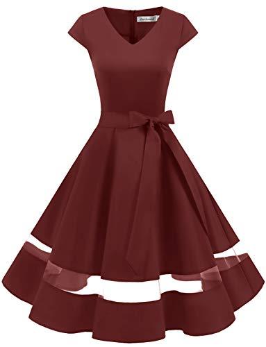 Gardenwed 1950er Vintage Retro Rockabilly Kleider Petticoat Faltenrock Cocktail Festliche Kleider Cap Sleeves Abendkleid Hochzeitkleid Burgundy L