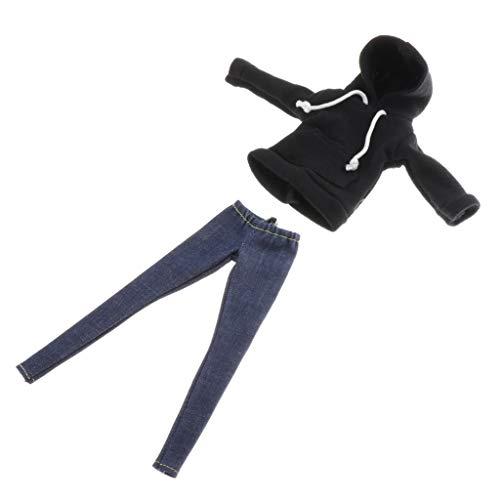 F Fityle Traje Negro con Capucha Y Pantalones Vaqueros para 1/6 Blythe Dress Up Outfits Accs