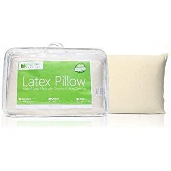 Natural Latex Pillow (Standard Size, Firm), with 100% Organic Cotton Cover Protector, Hypoallergenic, No Toxic Memory Foam Chemicals, Helps Relieve Pressure, Sleeping Support, Back and Side Sleepers