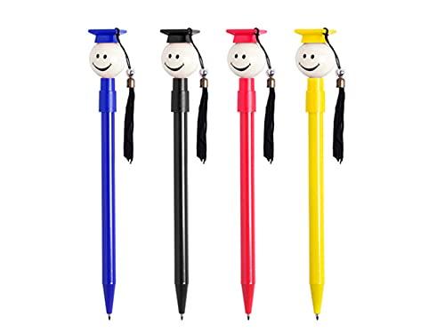 Lote de 50 Divertidos Bolígrafos para los graduados en variada gama de vivos colores con borla de tela.