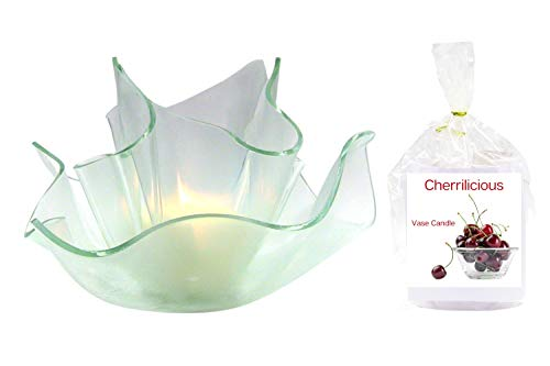 Cherilicious Clear Satin Vase Dish Set | 2 Premium Soy Paraffin Wax Blend Candle Refills | 100 Hour Total Burn Time | Highly Scented | Self-Trimming Wick | Fresh Poured