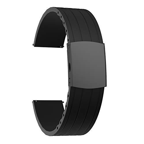 SOUWILA Correa Reloj Recambios Correa Relojes Caucho 16/18/20/22/24mm Silicona Correa Reloj con Acero Inoxidable Hebilla Desplegable (22mm, Black-Black)