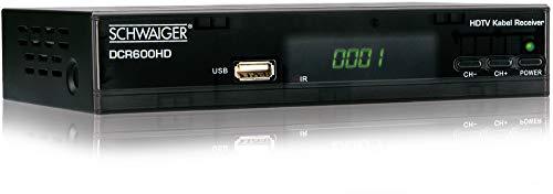 Schwaiger GmbH- Full HD Kabelreceiver/ digitales Kabelfernsehen/ USB 2.0-, HDMI-, SCART-Anschlüsse/ Fernbedienung und Batterien inklusive/ schwarz, DCR600