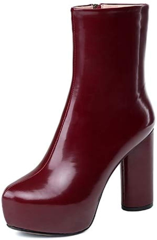 LFLXUE Cuir Femmes Bottes Naturel Bottes Femme Bottines à Bout Rond Plateforme à L'intérieur Femmes Chaussures