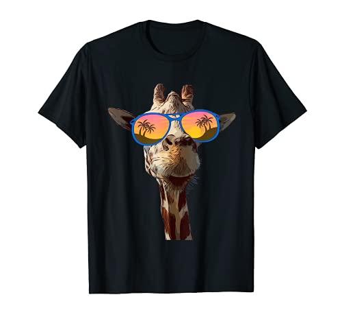 Divertida jirafa con gafas de sol divertido regalo para niños Camiseta
