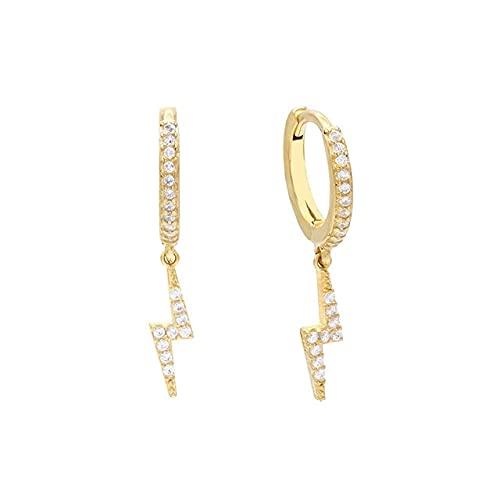 Pendiente de plata de ley 925 para mujer, pendientes de aro con cruz de relámpago, pendientes de perforación, joyería, pendiente redondow1