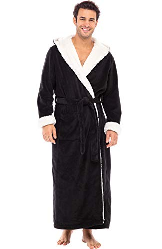 Alexander Del Rossa Men's Warm Fleece Robe with Hood, Plush Big and Tall Bathrobe, Large XL Black with Sherpa Accents (A0262BLKXL)