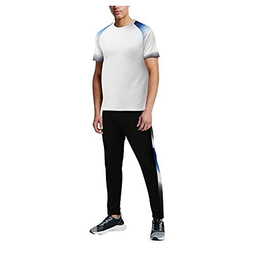 Xmiral T-Shirt Top Camicetta Camicie Pantaloncini Pantaloni Set Uomo Estate 2 Pezzi Beach Patchwork Magliette a Maniche Corte Pantaloni Lunghi Set (3XL,1bianca)