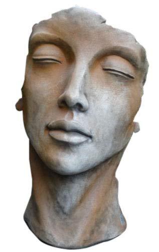 Skulptur Portrait Gesicht Frau H50cm Rosteffekt Steinguss Steinfigur Vidroflor Gartenskulptur + Original Pflegeanleitung von Steinfigurenwelt Giessen