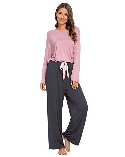 GOSO Damen Schlafanzug Pyjama Set-Schlafanzug Damen Pyjama Pjs Langarm Loose Pants Lady Jogging Style Nachtwäsche Soft Lounge Sets, 01 Rosa, L