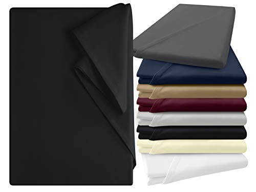 npluseins Bettlaken - 100% Baumwolle - in 6 Farben - in 3 verschiedenen Größen - Haushaltstuch ohne Spanngummi, ca. 150 x 250 cm, schwarz