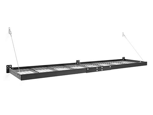 NewAge Products Pro Series Black 2 ft. x 8 ft. Wall Mounted Steel Shelf, Garage Overheads, 40406