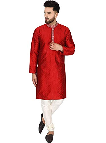 SKAVIJ Herren Tunika Kariert Kurta Pyjama Hochzeit Partei Kleid Set (Rot, XL)