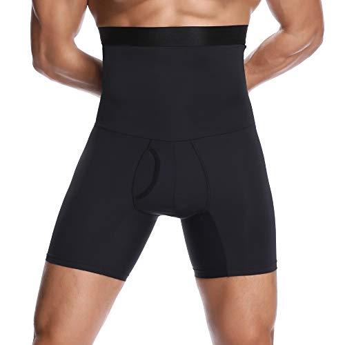 Joweechy Männer Slimming Body Shaper Hohe Taille Bauch Kontrolle Briefs Sport Training Funktions Unterwäsche Hose, Schwarz, XL:(Taille 32-35inches/ Gewicht 160-190lb)