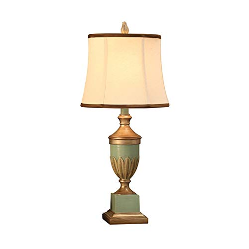 liushop Bedside Table Lamp Retro Style Table Lamps Light Blue Carved Golden Decoration Cone Fabric Drum Shade for Living Room Bedroom Bedside Nightstand Office Family Desk Lamp