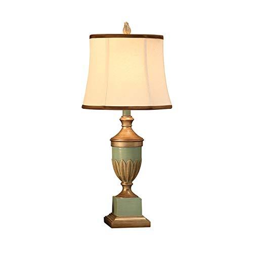 Lámpara de Mesita de Noche Lámparas de mesa de estilo retro azul claro tallado decoración de oro...