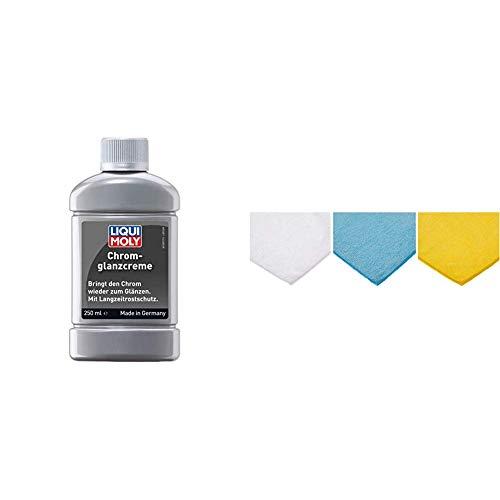 Liqui Moly 1529 Chrom-Glanz-Creme, 250 ml & Amazon Basics Mikrofaser-Reinigungstücher, 6 Stück