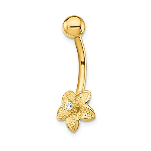 14k Yellow Gold Cubic Zirconia Cz Flower Belly Band Ring