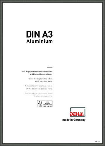 DEHA Aluminium Bilderrahmen Boston, 29,7x42 cm (A3), Contrastgrau
