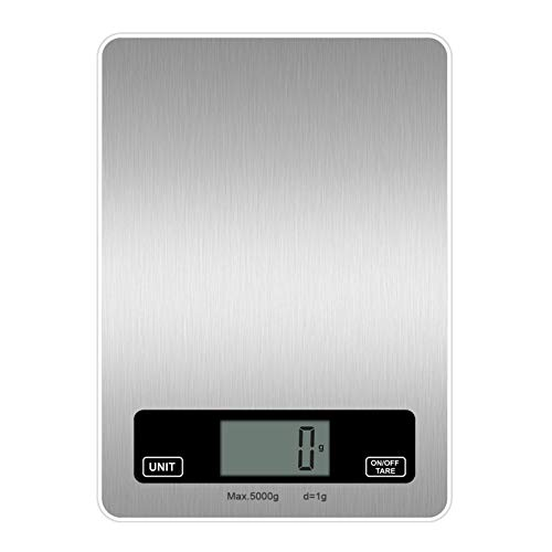 negaor Báscula digital de cocina para alimentos, peso gramos, onzas, de acero inoxidable, de vidrio templado, plataforma para hornear, cocina