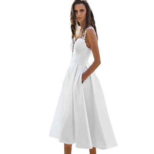 Sannysis Sommerkleid Damen Spitze Abendkleid Elgant Midikleid V-Ausschnitt Ärmellos Maxi Kleid Festliche Kleider Party Hochzeit Brautkleid Cocktail Ballkleid (S, Weiß)