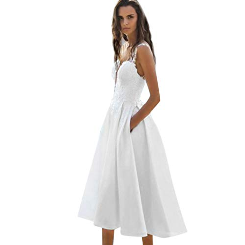 Sannysis Sommerkleid Damen Spitze Abendkleid Elgant Midikleid V-Ausschnitt Ärmellos Maxi Kleid Festliche Kleider Party Hochzeit Brautkleid Cocktail Ballkleid (M, Weiß)